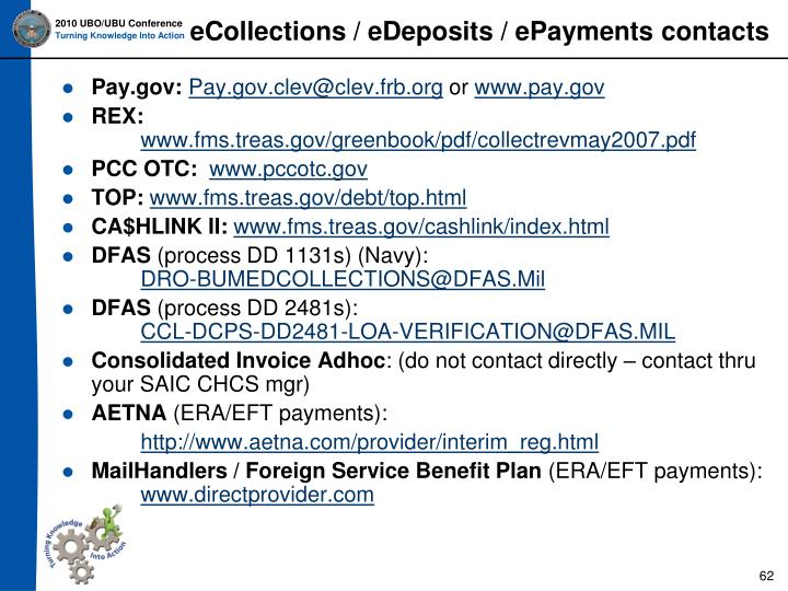 eCollections / eDeposits / ePayments contacts