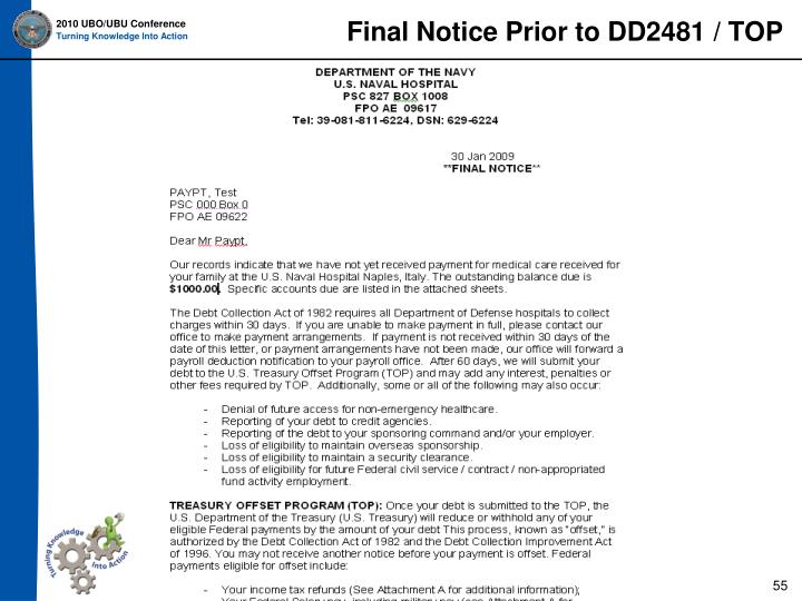Final Notice Prior to DD2481 / TOP