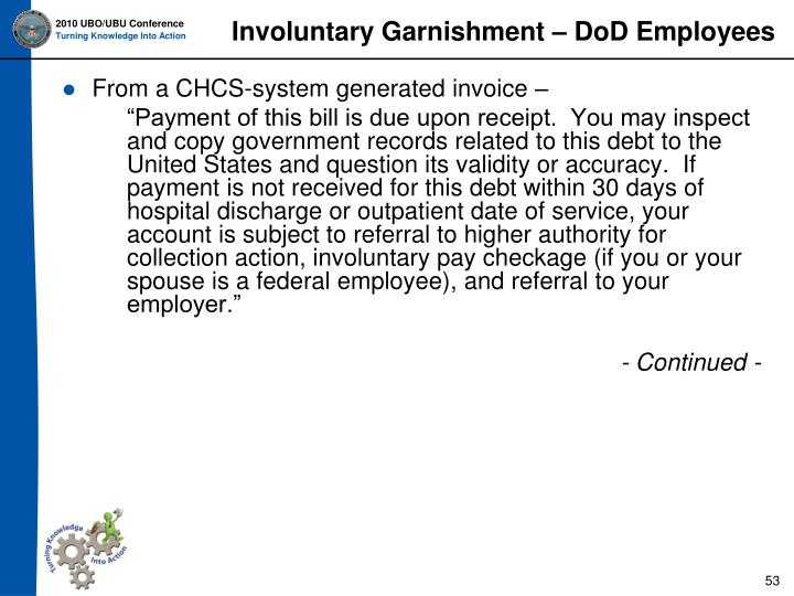 Involuntary Garnishment – DoD Employees