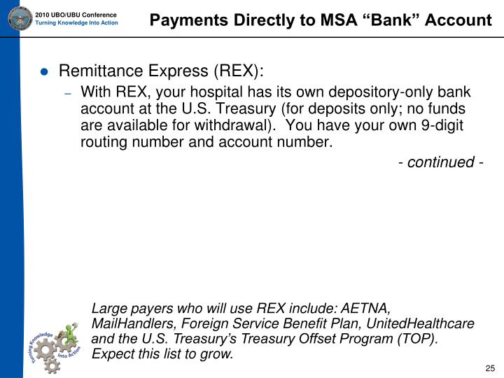 "Payments Directly to MSA ""Bank"" Account"