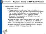 payments directly to msa bank account1