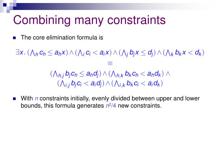 Combining many constraints