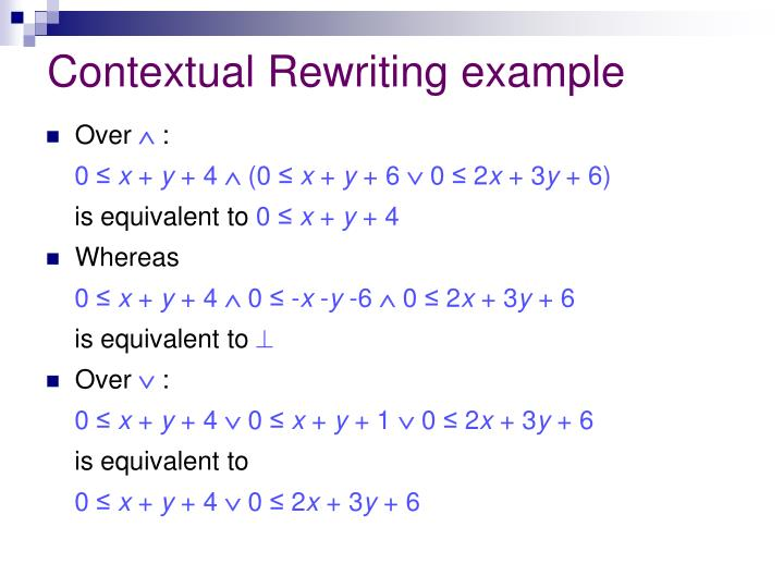 Contextual Rewriting example