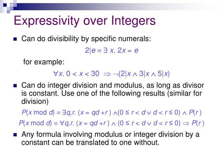 Expressivity over Integers