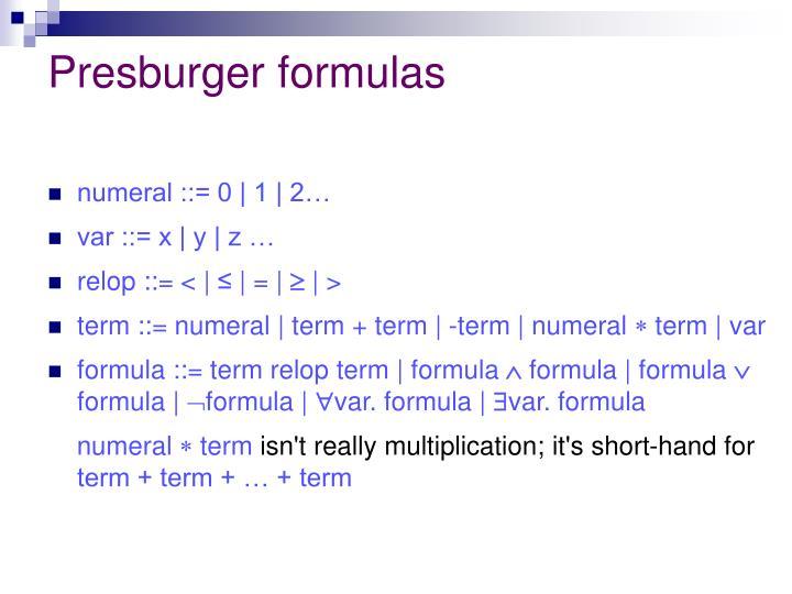 Presburger formulas