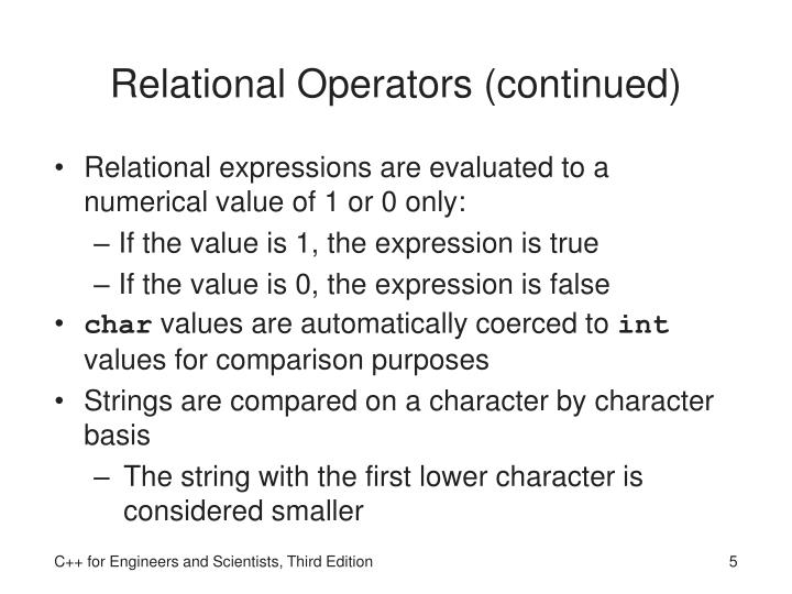 Relational Operators (continued)