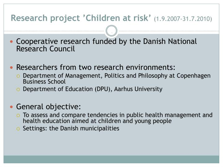 Research project 'Children at risk'