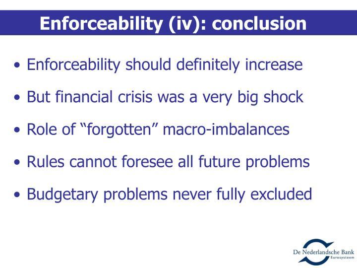 Enforceability (iv): conclusion