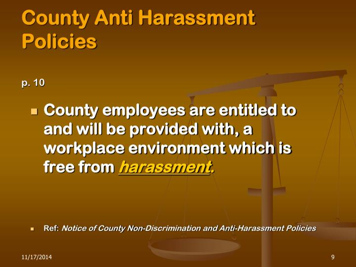 County Anti Harassment Policies