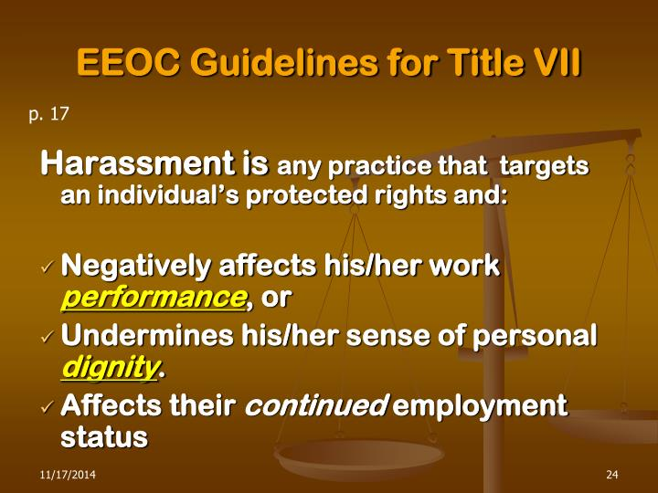 EEOC Guidelines for Title VII
