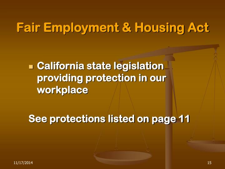 Fair Employment & Housing Act