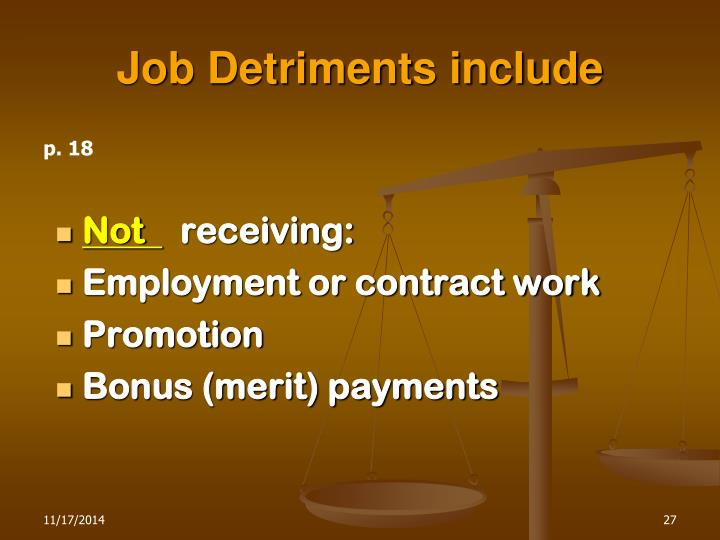 Job Detriments include