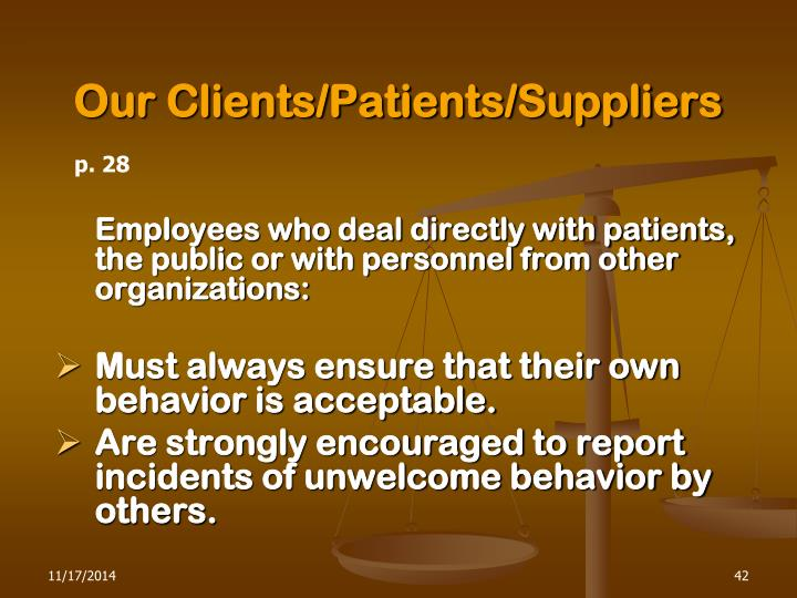 Our Clients/Patients/Suppliers