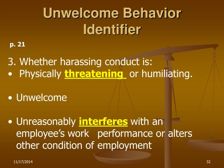 Unwelcome Behavior Identifier