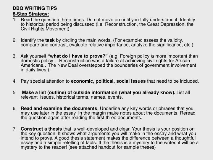 DBQ WRITING TIPS