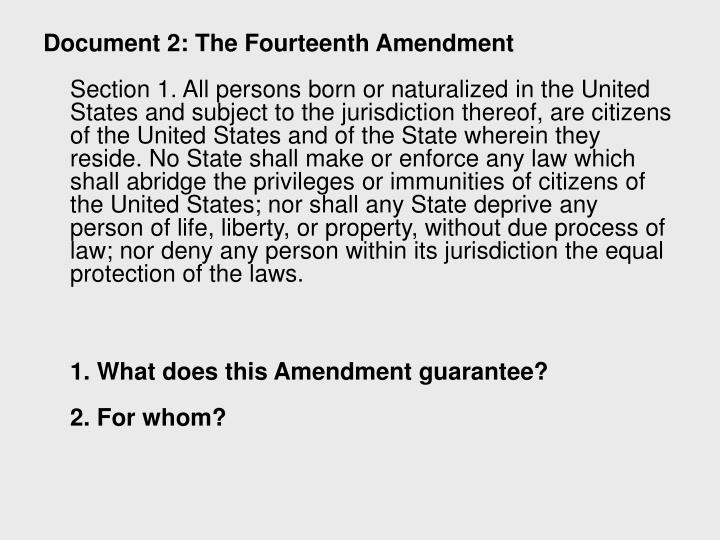 Document 2: The Fourteenth Amendment