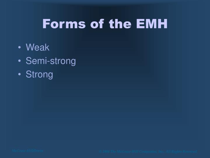 Forms of the EMH