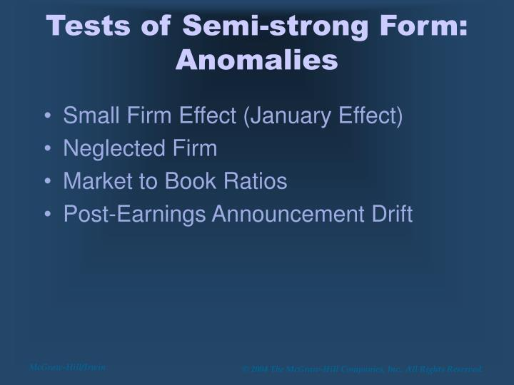 Tests of Semi-strong Form: Anomalies