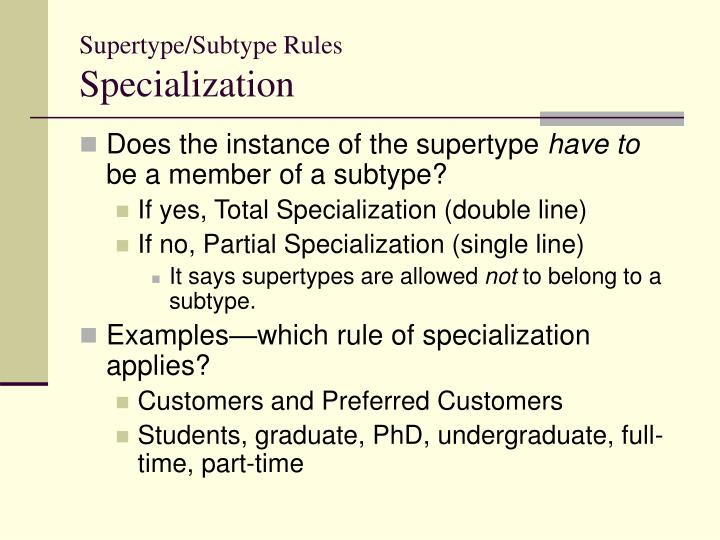 Supertype/Subtype Rules