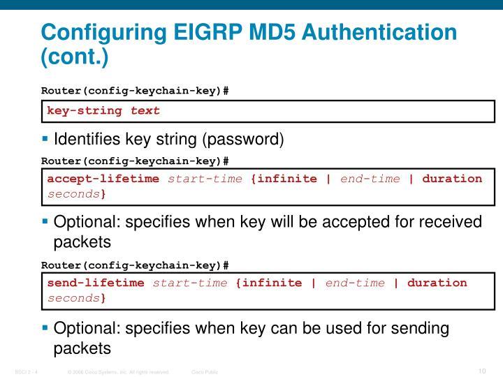 Configuring EIGRP MD5 Authentication (cont.)