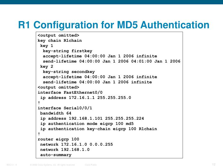 R1 Configuration for MD5 Authentication