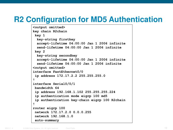 R2 Configuration for MD5 Authentication