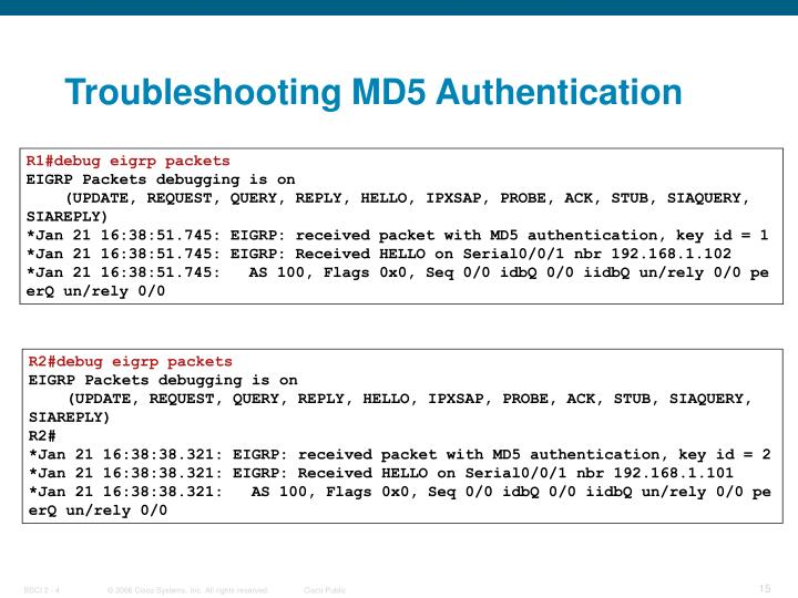 Troubleshooting MD5 Authentication