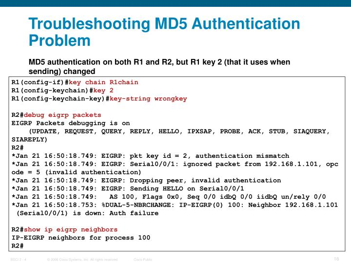 Troubleshooting MD5 Authentication Problem