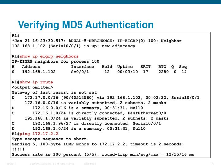 Verifying MD5 Authentication