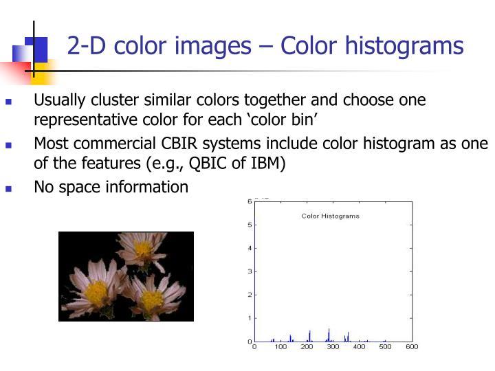 2-D color images – Color histograms