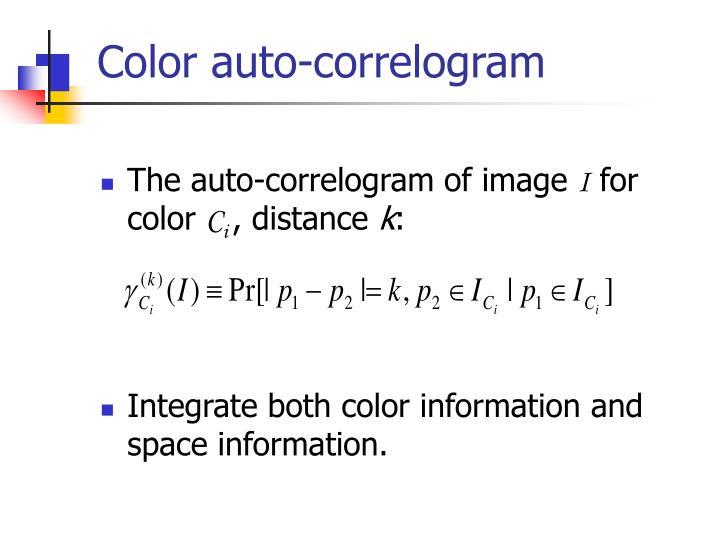 Color auto-correlogram