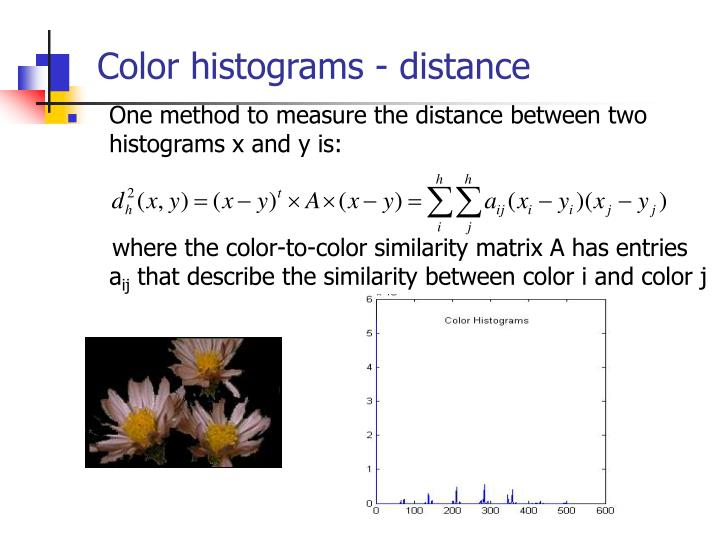 Color histograms - distance