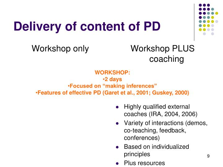 Delivery of content of PD