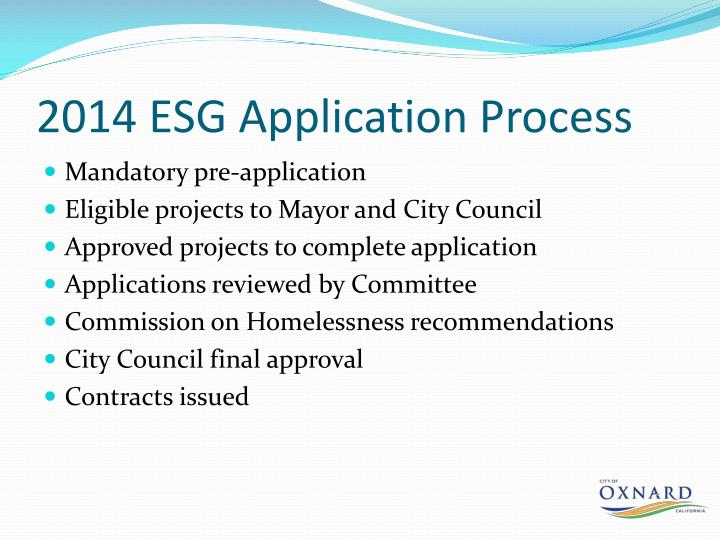 2014 ESG Application Process