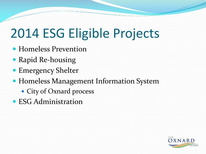 2014 ESG Eligible Projects