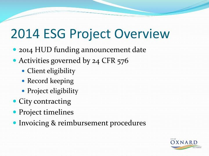 2014 ESG Project Overview