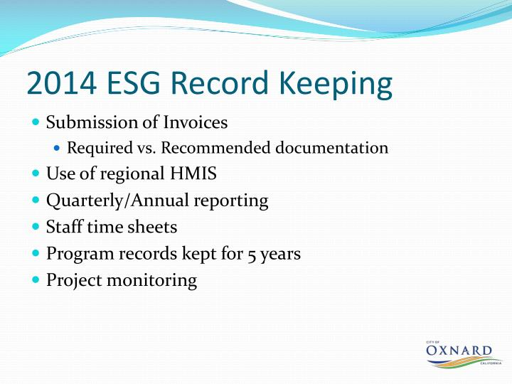 2014 ESG Record Keeping