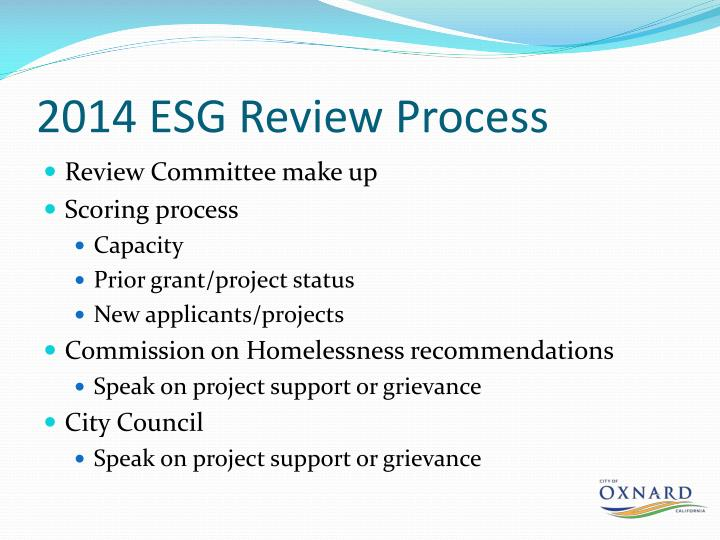 2014 ESG Review Process