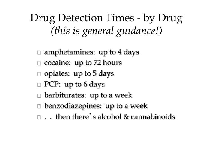 Drug Detection Times - by Drug