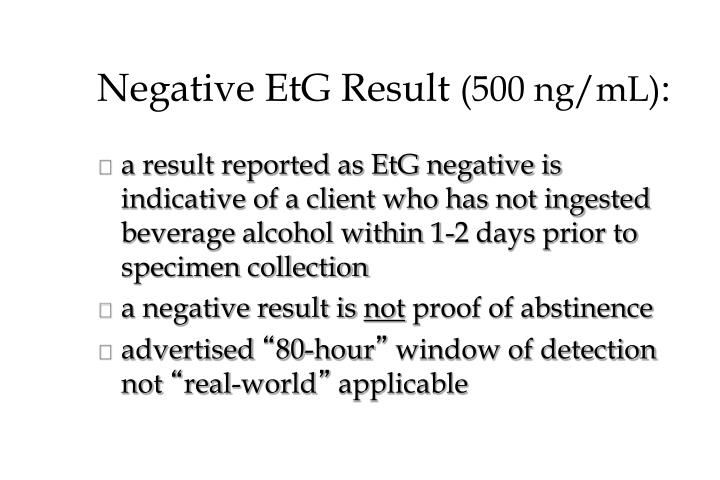 Negative EtG Result