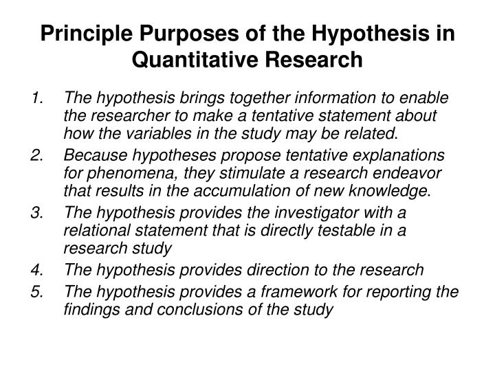 Research paper with hypothesis