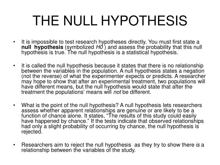 How to write a null and alternative hypothesis