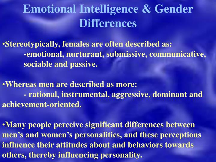 Emotional Intelligence & Gender Differences