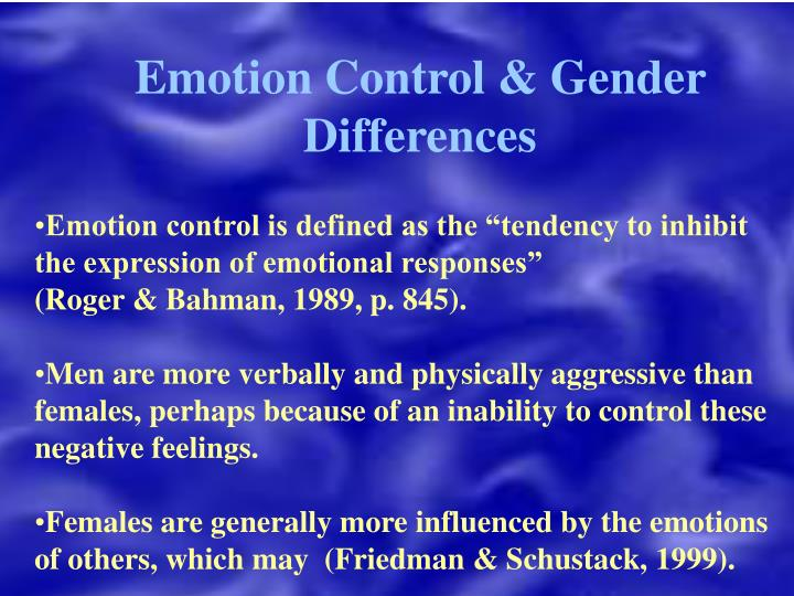 Emotion Control & Gender Differences
