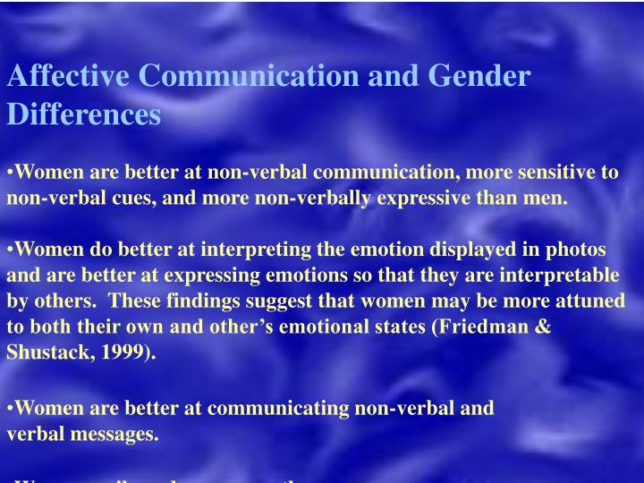 Affective Communication and Gender Differences
