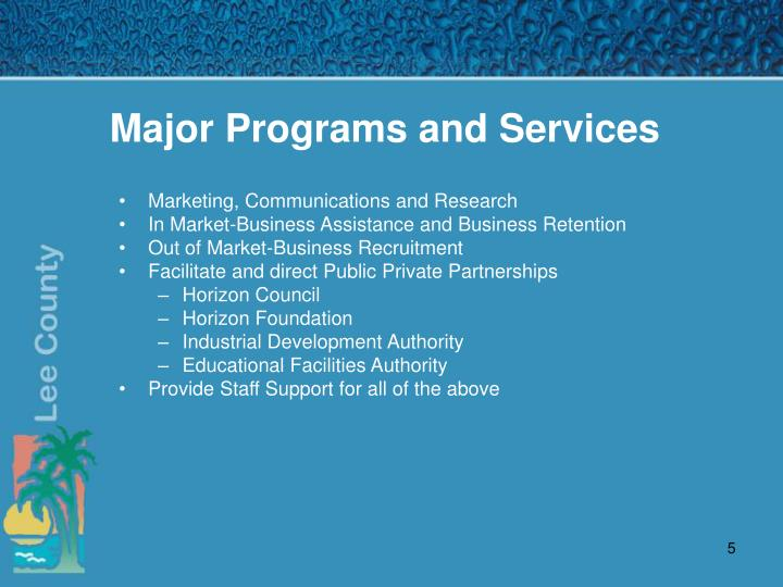 Major Programs and Services