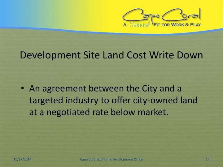 Development Site Land Cost Write Down