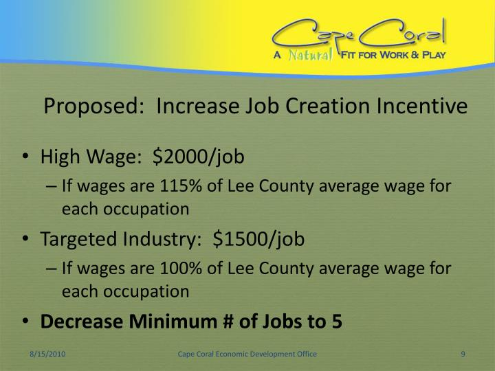 Proposed:  Increase Job Creation Incentive