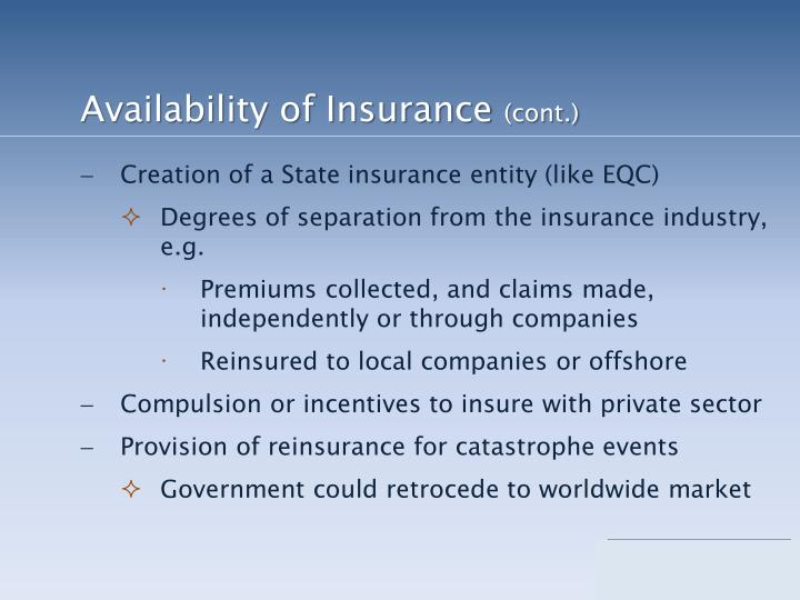 Availability of Insurance