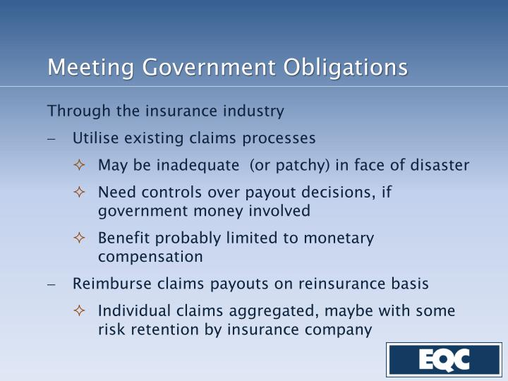 Meeting Government Obligations